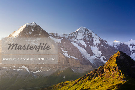 View from Kleine Scheidegg on Mount Eiger, with Monch and Jungfrau at Sunrise, Bernese Alps, Switzerland Stock Photo - Rights-Managed, Image code: 700-07066997