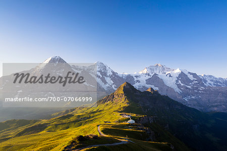 View from Kleine Scheidegg on Mount Eiger, with Monch and Jungfrau at Sunrise, Bernese Alps, Switzerland Stock Photo - Rights-Managed, Image code: 700-07066999