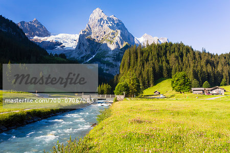 Mountain Creek Staubbach in front of Mount Wellhorn and Rosenlaui Glacier, Bernese Alps, Bernese Oberland, Switzerland Stock Photo - Rights-Managed, Image code: 700-07067003
