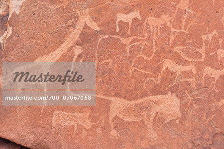 Close-up of Petroglyphs (or rock engravings), Twyfelfontein, UNESCO World Heritage site, Damaraland, Kunene Region, Namibia, Africa Stock Photo - Rights-Managed, Image code: 700-07067068