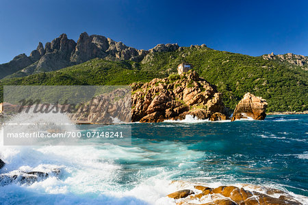 Scenic view of ocean and coastline with Genoese Watchtower, Gulf of Porto, Corsica, France Stock Photo - Rights-Managed, Image code: 700-07148241