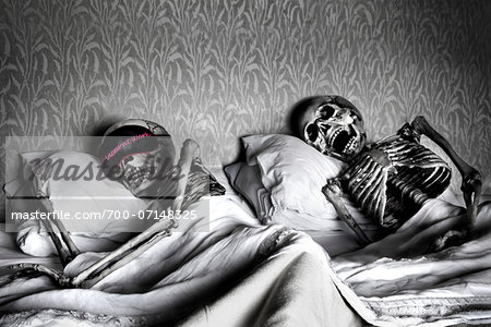 Skeleton Couple Sleeping in Bed Stock Photo - Rights-Managed, Image code: 700-07148325