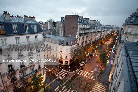 High angle view of Montmartre, street scene at dawn, Paris, France Stock Photo - Rights-Managed, Image code: 700-07165053