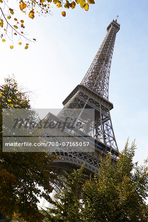 Low angle view of Eiffel Tower against blue sky, Paris, France Stock Photo - Rights-Managed, Image code: 700-07165057