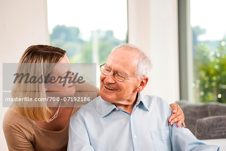 Portrait of Young Woman and Senior Man, Mannheim, Baden-Wurttemberg, Germany Stock Photo - Rights-Managed, Image code: 700-07192186