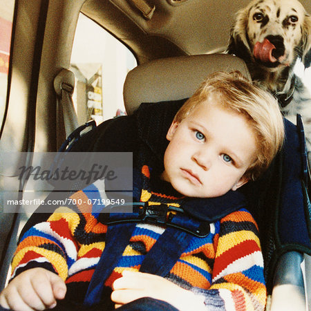 Portrait of Boy in Car Seat with Dog in Back of Car Stock Photo - Rights-Managed, Image code: 700-07199549