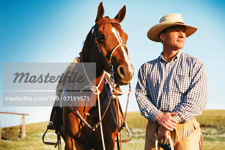 Portrait of a Man and Horse Stock Photo - Rights-Managed, Image code: 700-07199571
