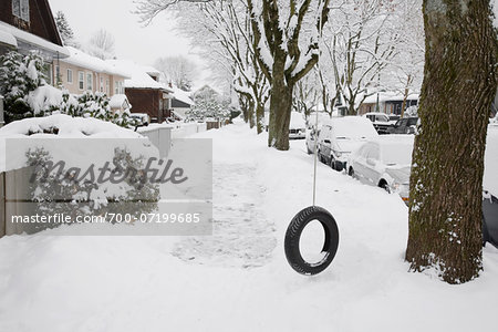 Neighbourhood Scene in Winter, Vancouver, British Columbia, Canada Stock Photo - Rights-Managed, Image code: 700-07199685