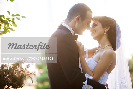 Close-up portrait of bride and groom standing outdoors, face to face, smiling and embracing, Ontario, Canada Stock Photo - Rights-Managed, Image code: 700-07199861