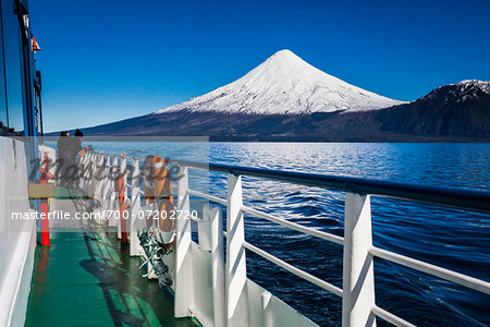 Close-up of tour boat on Cruce Andino, looking toward Osorno Volcano, Lake Todos los Santos, Parque Nacional Vicente Perez Rosales, Patagonia, Chile Stock Photo - Rights-Managed, Image code: 700-07202720