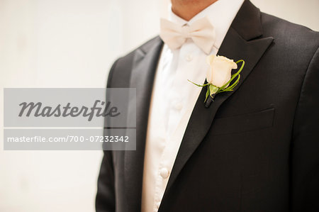 Close-up of Bridegroom in tuxedo with boutonniere, Canada Stock Photo - Rights-Managed, Image code: 700-07232342