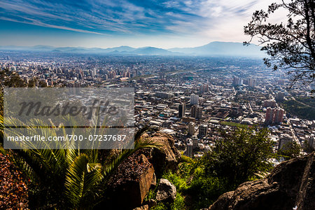 Overview of Santiago from Cerro San Cristobal, Bellavista District, Santiago, Chile Stock Photo - Rights-Managed, Image code: 700-07237687