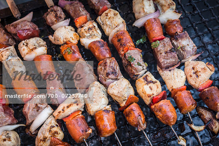 Kebabs for Chilean Independence Day, Parque Ines de Suarez, Santiago, Chile Stock Photo - Rights-Managed, Image code: 700-07237740