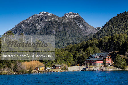 Shoreline and lodge, Puerto Blest, Nahuel Huapi National Park (Parque Nacional Nahuel Huapi­), Argentina Stock Photo - Rights-Managed, Image code: 700-07237910