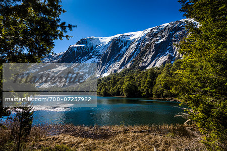 Scenic view of lake and the Andes Mountains at Nahuel Huapi National Park (Parque Nacional Nahuel Huapi­), Argentina Stock Photo - Rights-Managed, Image code: 700-07237922