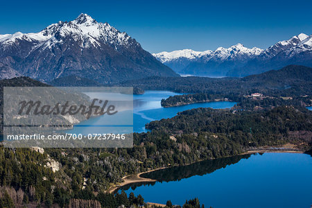 Scenic overview of Bariloche and the Andes Mountains, Nahuel Huapi National Park (Parque Nacional Nahuel Huapi­), Argentina Stock Photo - Rights-Managed, Image code: 700-07237946