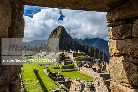 Looking through stone, structural opening at overview of Machu Picchu, Peru Stock Photo - Rights-Managed, Image code: 700-07238059