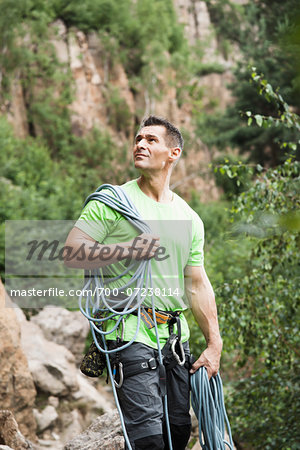 Mature Man Rock Climbing, Schriesheim, Baden-Wurttemberg, Germany Stock Photo - Rights-Managed, Image code: 700-07238114