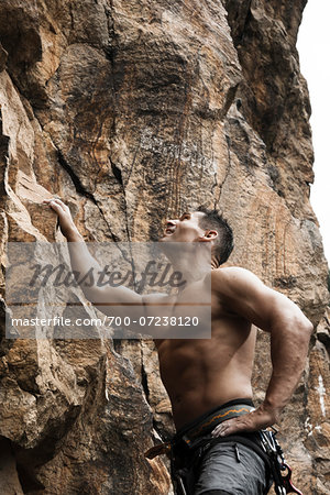 Mature Man Rock Climbing, Schriesheim, Baden-Wurttemberg, Germany Stock Photo - Rights-Managed, Image code: 700-07238120