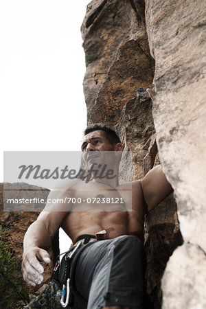 Mature Man Rock Climbing, Schriesheim, Baden-Wurttemberg, Germany Stock Photo - Rights-Managed, Image code: 700-07238121