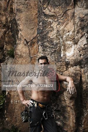 Mature Man Rock Climbing, Schriesheim, Baden-Wurttemberg, Germany Stock Photo - Rights-Managed, Image code: 700-07238122