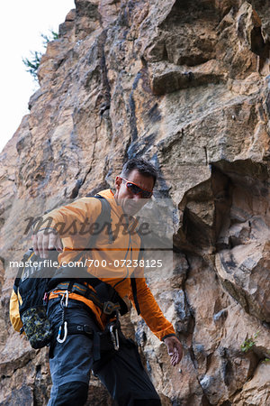 Mature Man Rock Climbing, Schriesheim, Baden-Wurttemberg, Germany Stock Photo - Rights-Managed, Image code: 700-07238125