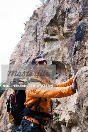 Mature Man Rock Climbing, Schriesheim, Baden-Wurttemberg, Germany Stock Photo - Rights-Managed, Image code: 700-07238126