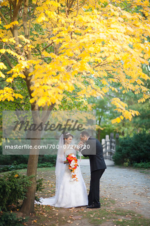 Portrait of Groom Kissing Bride's Hand Outdoors, Toronto, Ontario, Canada Stock Photo - Rights-Managed, Image code: 700-07278720
