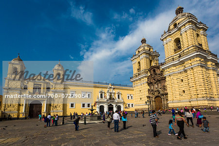 View of people and grounds in front of San Francisco Church and Convent, Lima, Peru Stock Photo - Rights-Managed, Image code: 700-07279054