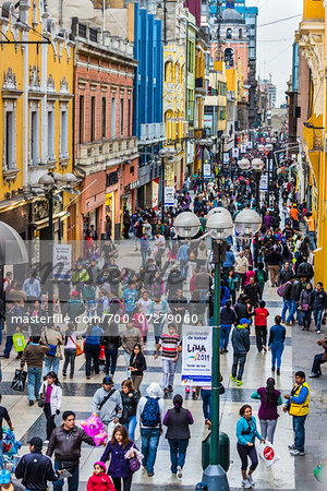 Shoppers along Union Street near Plaza Mayor (Plaza de Armas), Lima, Peru Stock Photo - Rights-Managed, Image code: 700-07279060