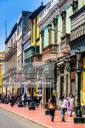 People walking along historical Carabaya Street in downtown Lima, Peru Stock Photo - Rights-Managed, Image code: 700-07279062