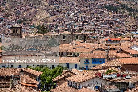 Overview of houses with tile rooftops, Cusco, Peru Stock Photo - Rights-Managed, Image code: 700-07279071