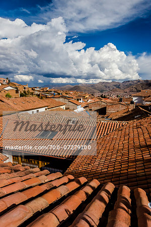 Overview of rooftops of homes with dramatic clouds, Cusco Peru Stock Photo - Rights-Managed, Image code: 700-07279100