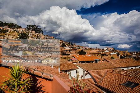 Overview of rooftops of homes with dramatic clouds, Cusco Peru Stock Photo - Rights-Managed, Image code: 700-07279101