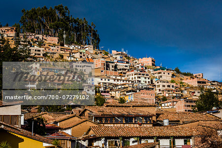 View of rooftops of homes and mountain, Cusco, Peru Stock Photo - Rights-Managed, Image code: 700-07279102