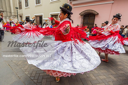 Dancers at Religious Festival Procession, Lima, Peru Stock Photo - Rights-Managed, Image code: 700-07279153