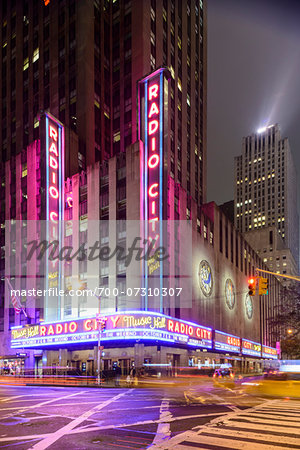Radio City Music Hall illuminated at night, Rockefeller Center, Midtown, Manhattan, New York City, New York, USA Stock Photo - Rights-Managed, Image code: 700-07310307