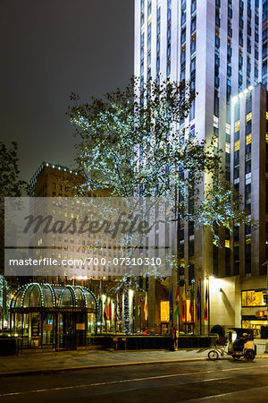 Rockefeller Center Promenade and Channel Gardens at night, Rockefeller Center, Midtown, Manhattan, New York City, New York, USA Stock Photo - Rights-Managed, Image code: 700-07310310