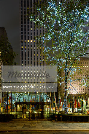 Rockefeller Center at night, Midtown, Manhattan, New York City, New York, USA Stock Photo - Rights-Managed, Image code: 700-07310312