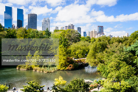 View of Gapstow Bridge with highrise buildings in background, Central Park, Midtown Manhattan, New York City, New York, USA Stock Photo - Rights-Managed, Image code: 700-07310892