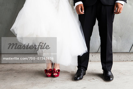 Waist Down Portrait of Bride and Groom, Bride wearing Red Shoes Stock Photo - Rights-Managed, Image code: 700-07363836