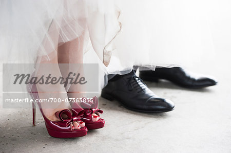 Close-up of Bride and Groom's Shoes Stock Photo - Rights-Managed, Image code: 700-07363855