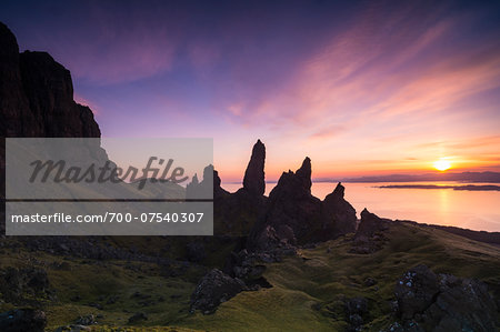 The Old Man of Storr, rock formation at sunrise, Isle of Skye, Scotland Stock Photo - Rights-Managed, Image code: 700-07540307