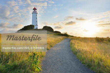 Path to Lighthouse on the Dornbusch in the Morning with Sun, Summer, Baltic Island of Hiddensee, Baltic Sea, Western Pomerania, Germany
