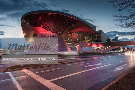 View of the BMW Welt at dusk, Munich, Bavaria, Germany.