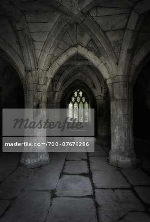 Valle Crucis Abbey, North Wales. Interior of the Chapter House. Stock Photo - Rights-Managed, Image code: 700-07672286