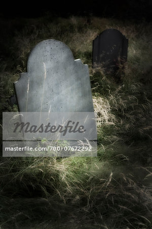 Close-up of blank grave stone in an overgrown cemetery. Stock Photo - Rights-Managed, Image code: 700-07672292
