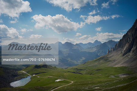 View of Italian Alps mountains from Del Mulo Pass in summer, Italy
