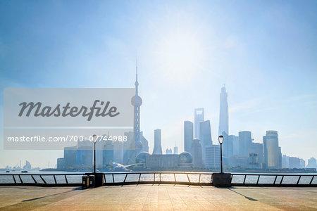 View from the promenade beside the Huangpu River at The Bund, looking towards Pudong skyline, Shanghai, Shanghai Shi, Zhonghua, China