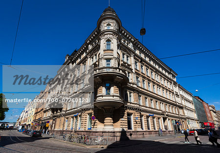 Facade of building in the National Romantic style, Design District Helsinki, Helsinki, Finland Stock Photo - Rights-Managed, Image code: 700-07760120